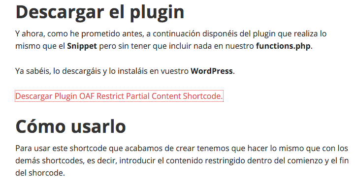 Plugin OAF Restrict Partial Content Shortcode